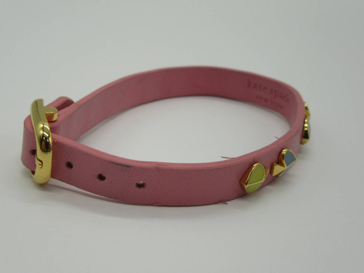 kate spade ブレスレット 全長約16~20㎝(穴6カ所あり) ピンク 中古品 ネ4-9A_画像9