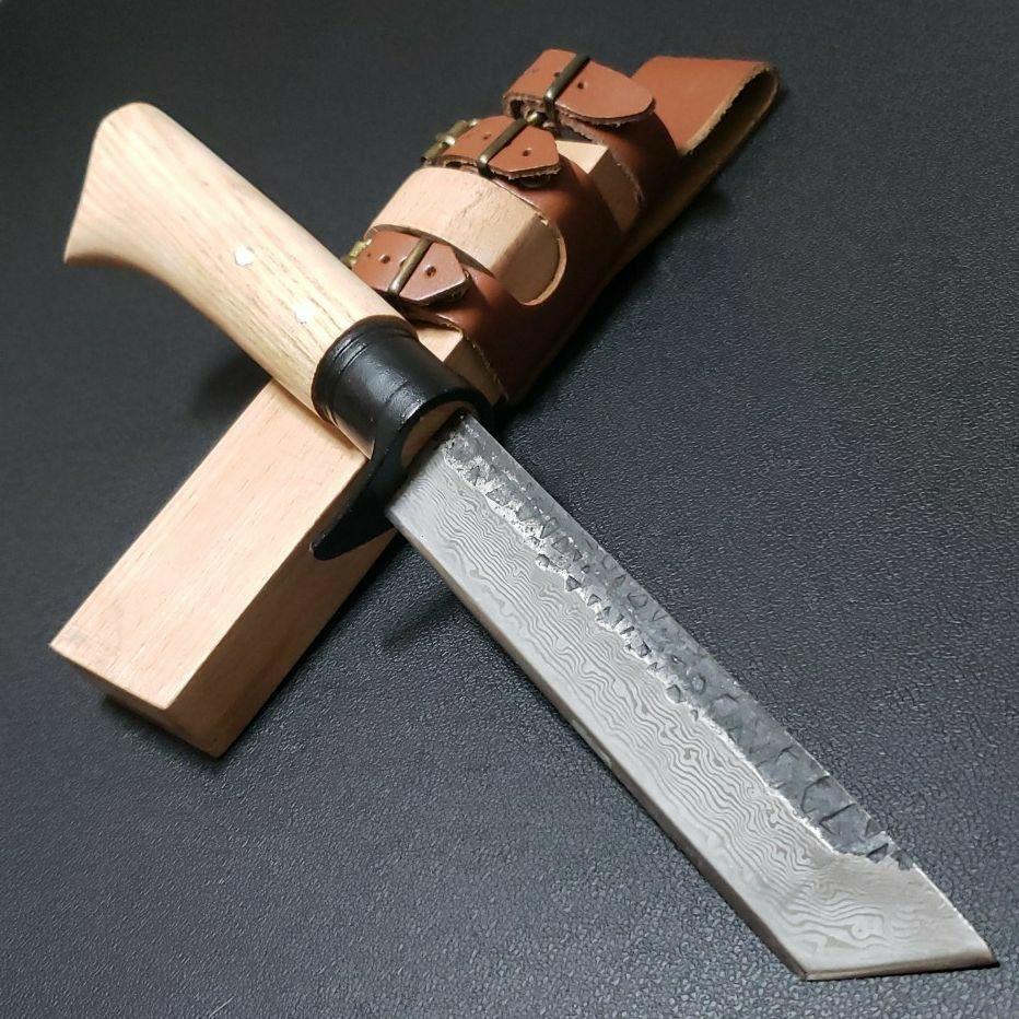 アウトドア キャンプ  登山 和式 鉈 剣鉈 ナタ ナイフ 鍛造 ダマスカス紋様