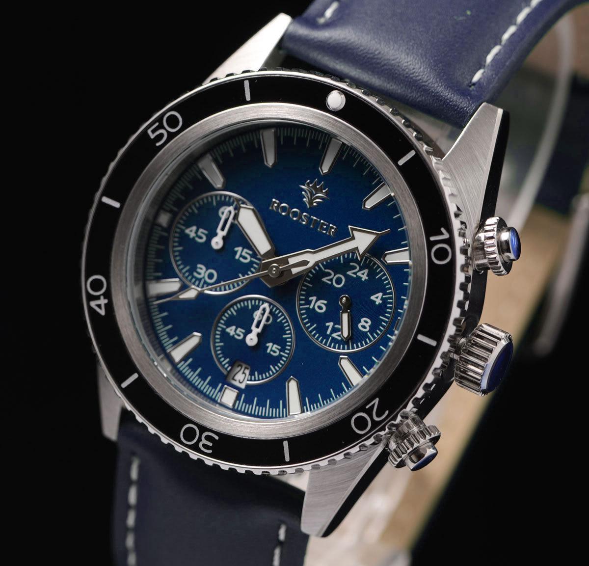 1円開始!ROOSTER ダークブルー 世界限定500本 入手困難 BLUE 100m防水 クロノグラフ 本革ベルト 腕時計 世界限定500本 メンズ