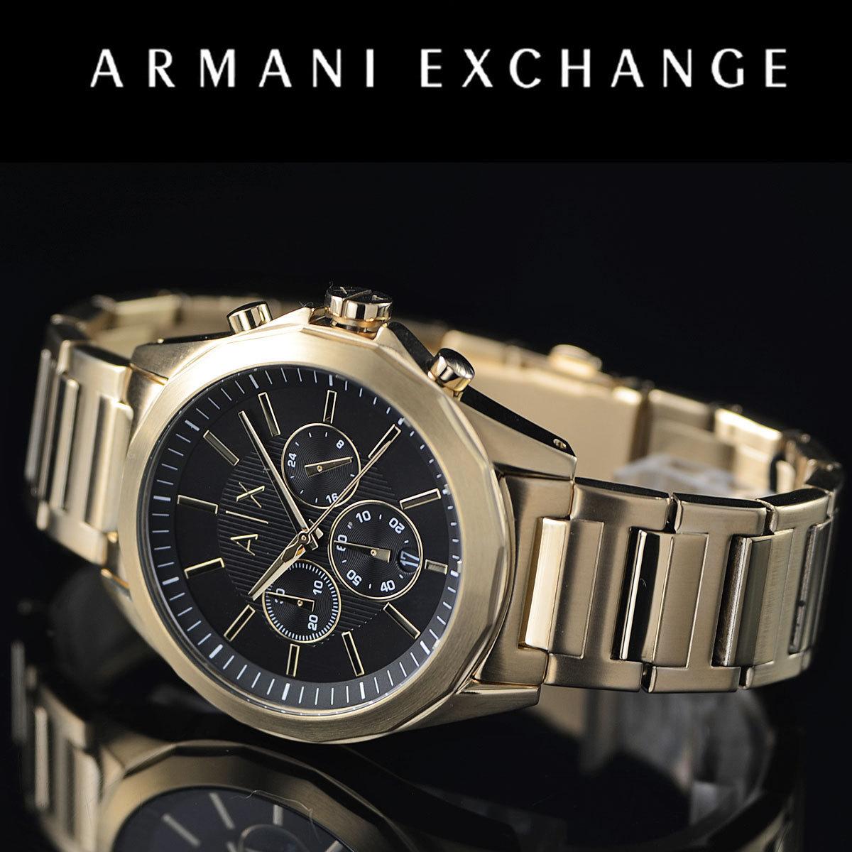 1円!アルマーニ・エクスチェンジ ARMANI EXCHANGE全身ゴールド100m防水クロノグラフ AX2611 本物 未使用 腕時計 メンズ