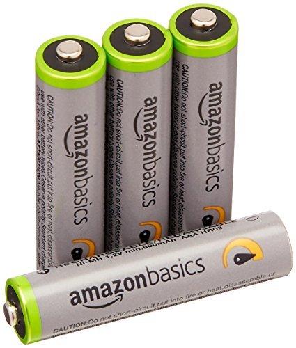 Amazonベーシック 充電池 高容量充電式ニッケル水素電池単4形4個セット (充電済み、最小容量 800mAh、約500回使用_画像1