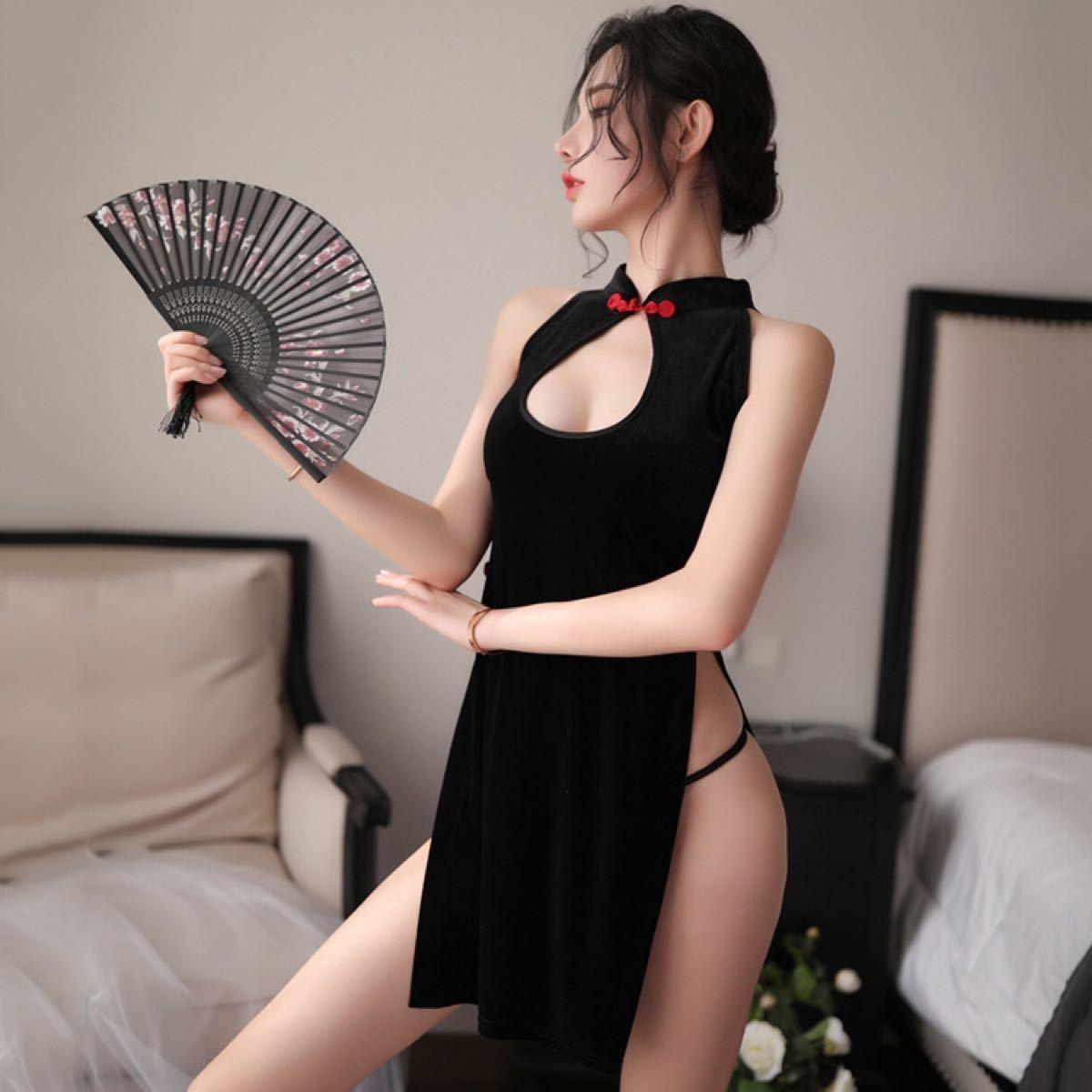 セクシーランジェリー☆コスプレ衣装☆ベロア風チャイナドレス