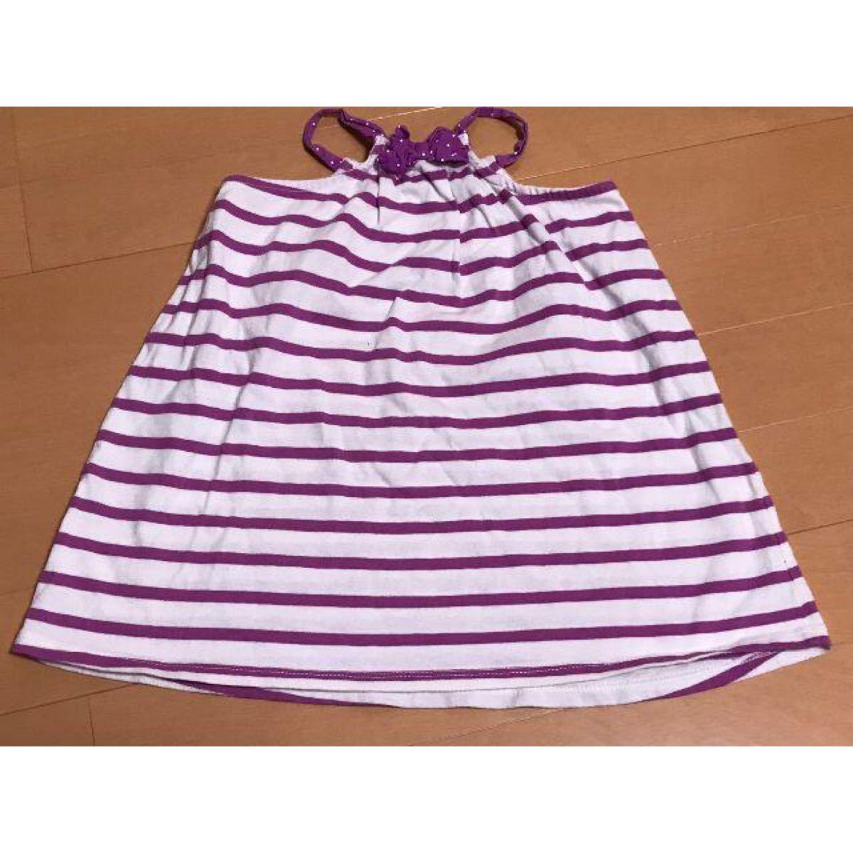 キッズ・子供服95cm ワンピース 紫白ボーダー柄 女の子用