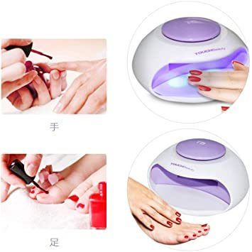 パープル TOUCHBeauty ネイルドライヤー UV ネイルライト 小型 マニキュア用 UVライト ファン付き 自動オン/オ_画像5