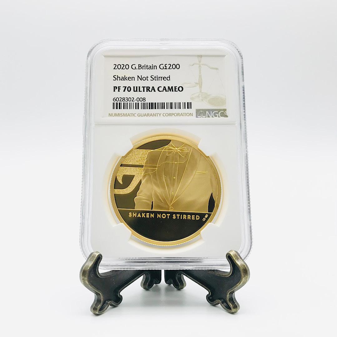 ★最高鑑定★ 007 ジェームズ・ボンド 200ポンド 2020年 英国 第3貨 2オンス NGC PF70 ウルトラカメオ 金貨 エリザベス_画像3