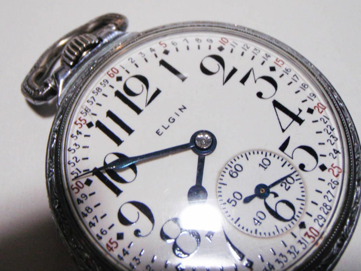 ELGIN 希少モデル モンゴメリーダイヤル懐中時計  鉄道時計 錫製ケース? _画像2