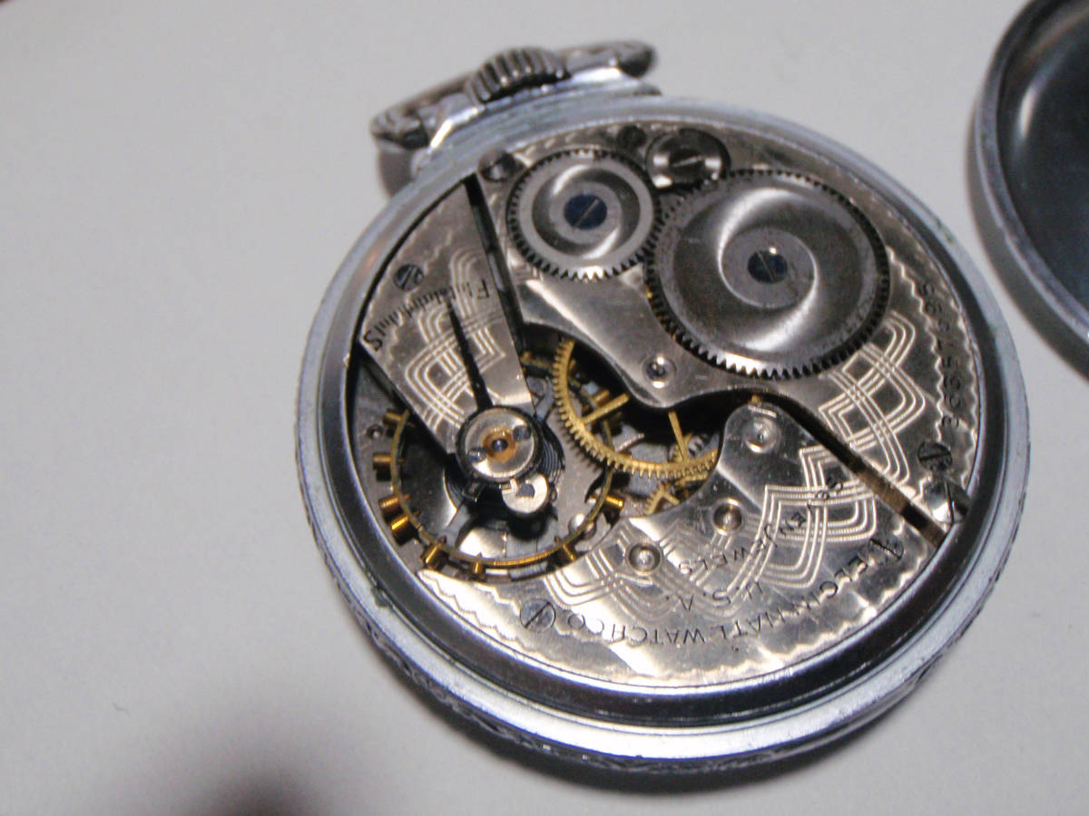 ELGIN 希少モデル モンゴメリーダイヤル懐中時計  鉄道時計 錫製ケース? _画像6