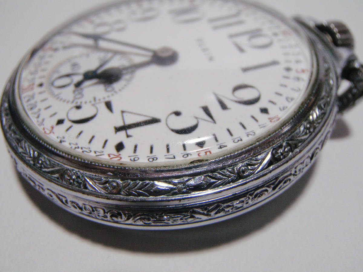 ELGIN 希少モデル モンゴメリーダイヤル懐中時計  鉄道時計 錫製ケース? _画像8