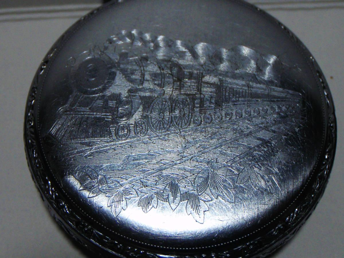 ELGIN 希少モデル モンゴメリーダイヤル懐中時計  鉄道時計 錫製ケース? _画像9