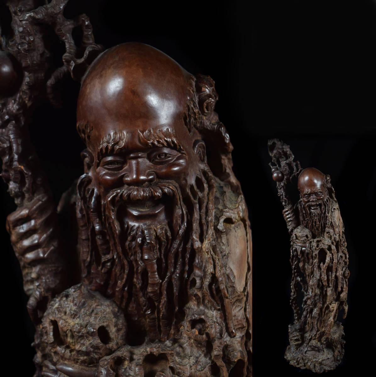 中国古玩 唐物 唐木細密彫刻細工 寿老人置物 高さ56㎝ 古美術品(旧家蔵出)b612_画像1