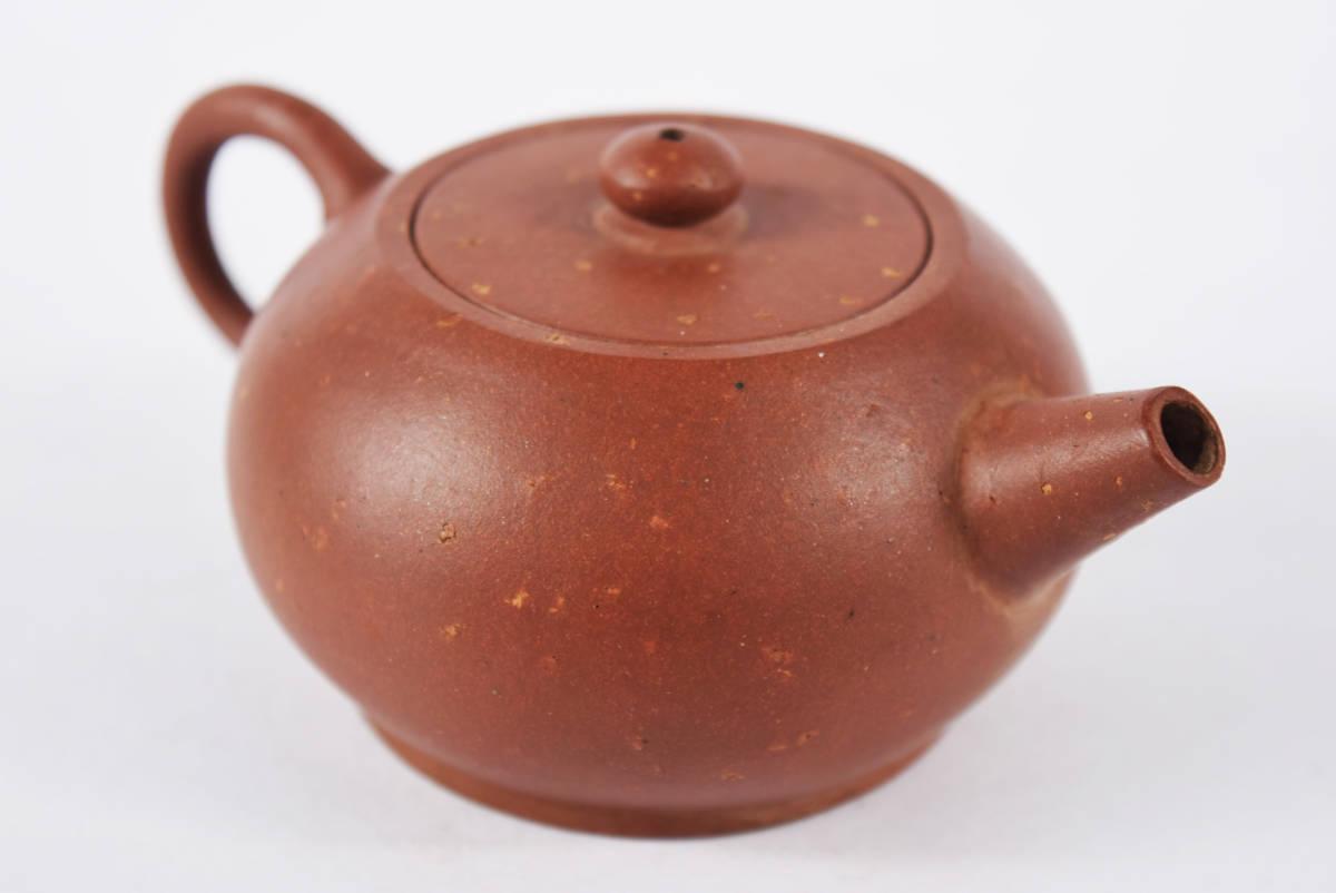 中国古玩 唐物 朱泥梨皮砲口急須 単孔口 古美術品(煎茶紫砂宜興旧家蔵出)b605