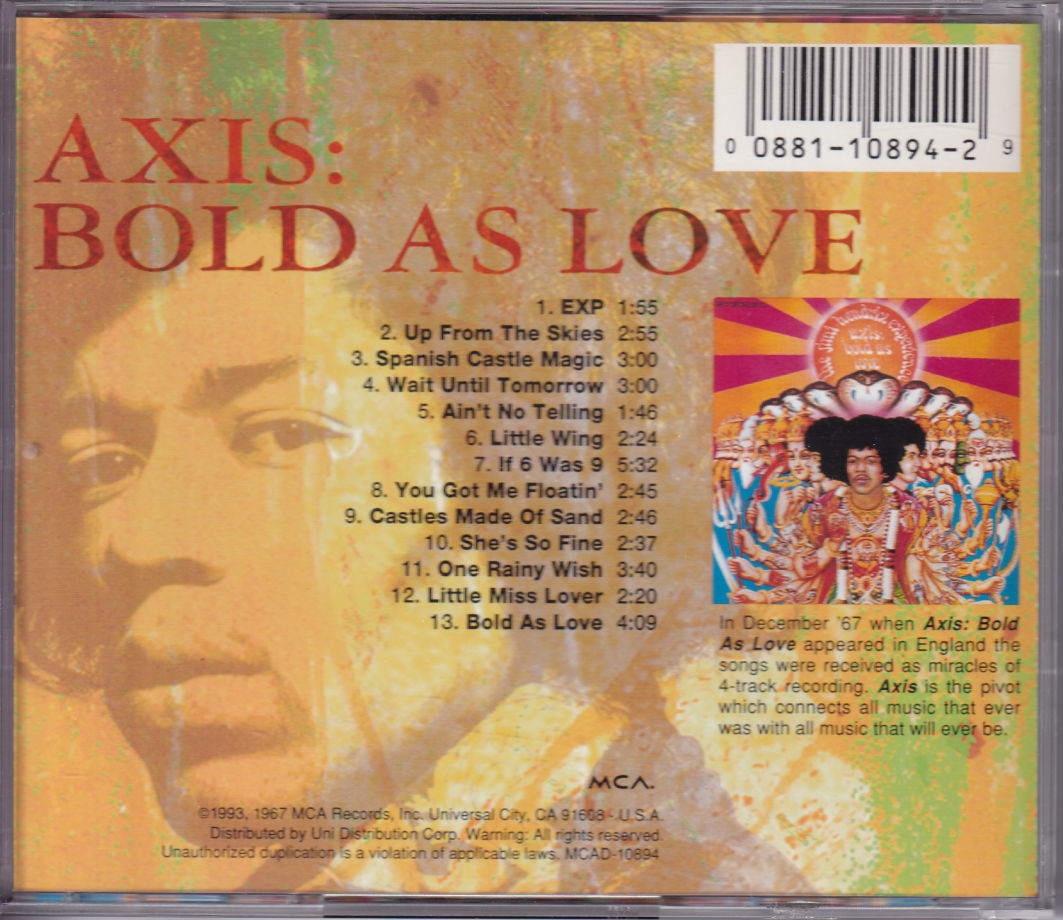 The Jimi Hendrix Experience / Axis: Bold As Love 米国盤CD MCAD-10894 切手シール有 送料込