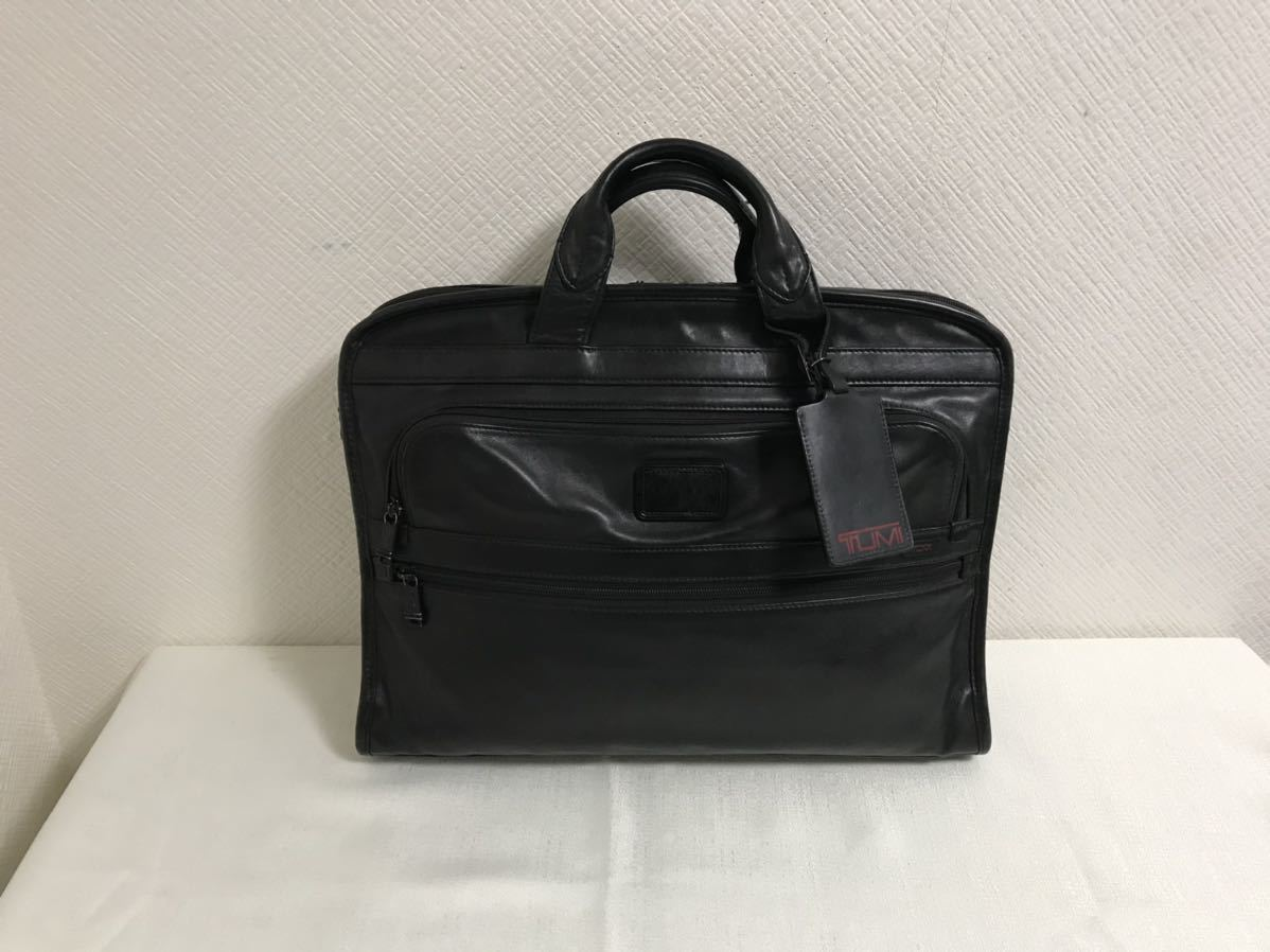 本物トゥミTUMI本革オールレザーハンドビジネストートバッグボストンバックメンズレディース黒ブラック旅行トラベルブリーフケース