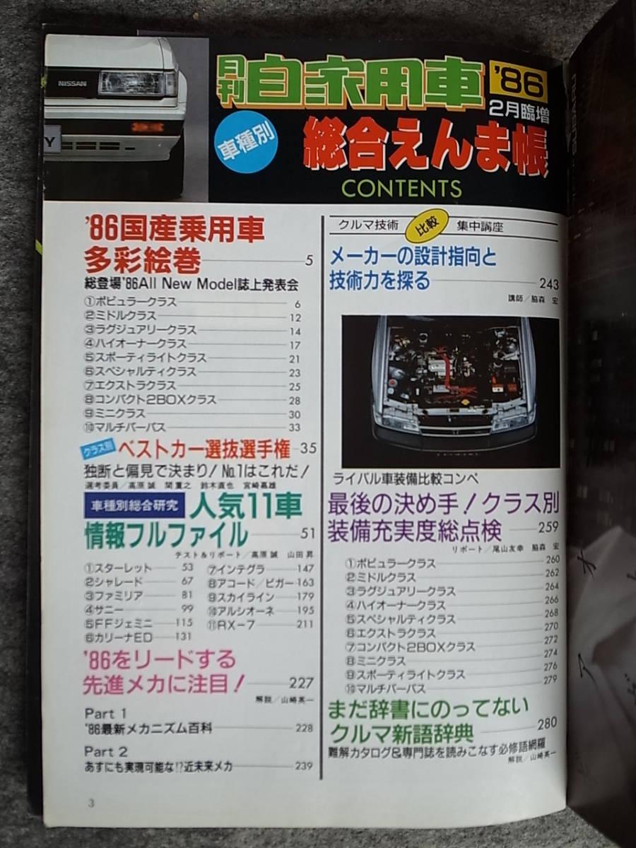 月刊 自動車 1986年臨時増刊 車種別総合えんま帳_画像2