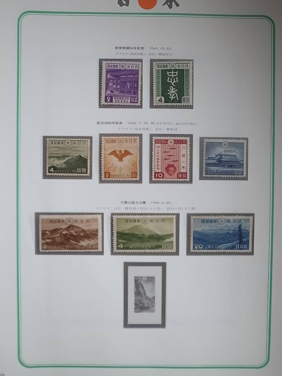 日本切手アルバム 第1巻 P.29の切手 教育勅語、紀元2600年、大雪山国立公園 _画像1