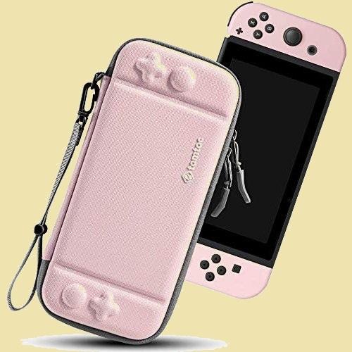 未使用 新品 Switch対応 Nintendo 8-HD ストラップ付き ピンク tomtoc ハ-ドケ-ス スイッチ 耐衝撃 薄型 キャリングケ-ス_画像1