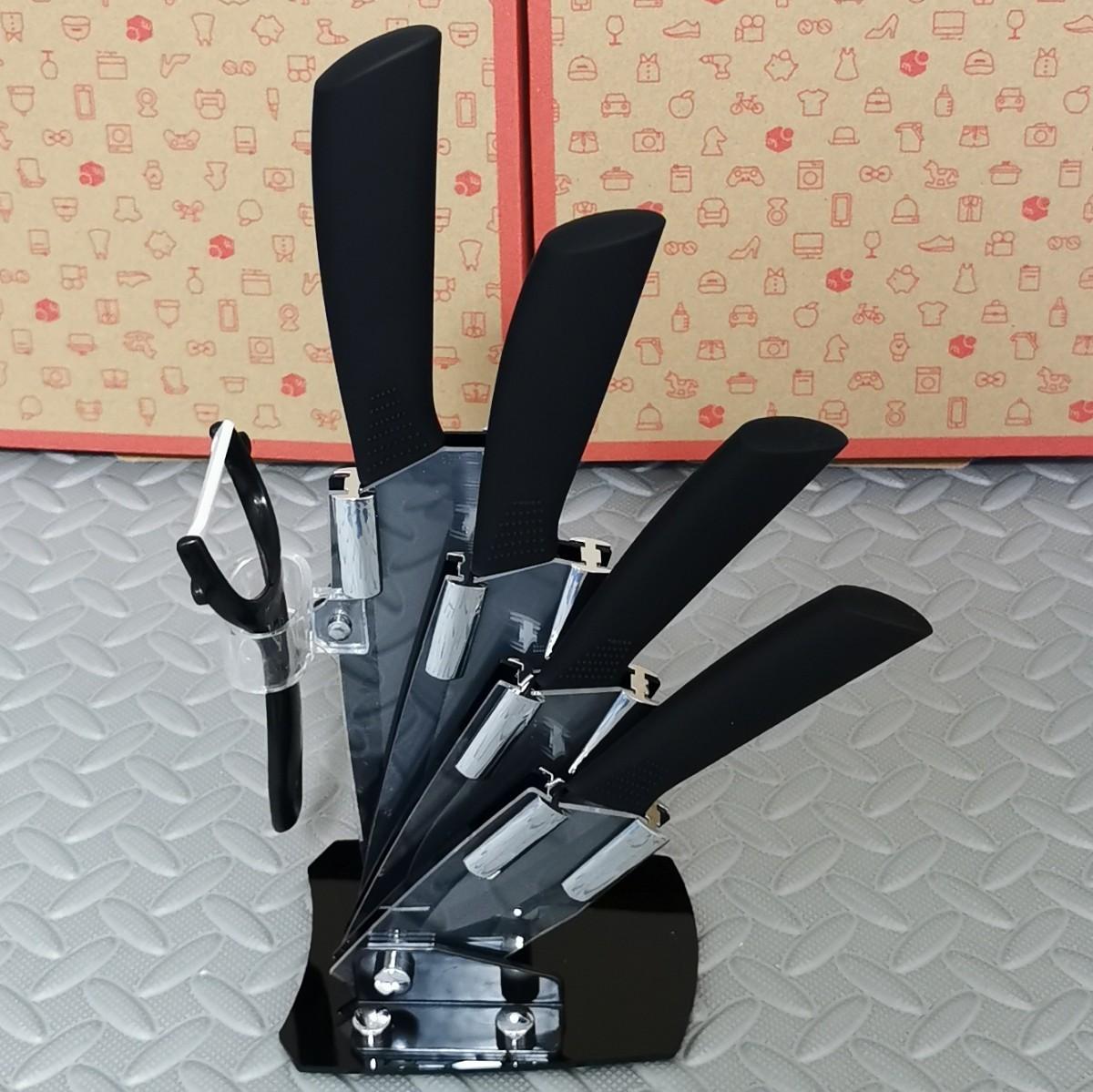 セラミック 包丁  4本セット + ピーラー付き ナイフ 黒 ジルコニア スタンド