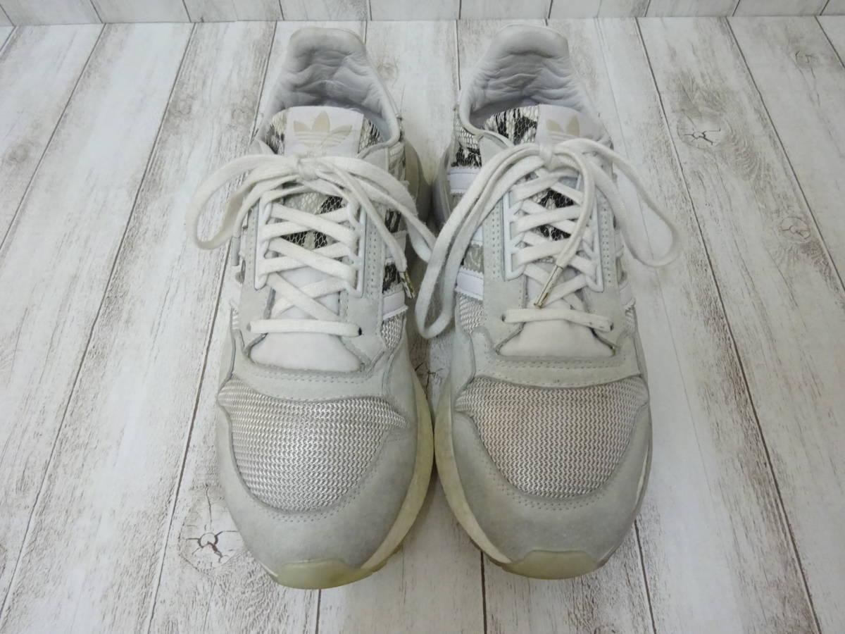adidas Originals ZX500 RM スニーカー ヘビ柄 スネーク柄 ライトグレー 白 25cm US7 アディダス オリジナルス_画像2