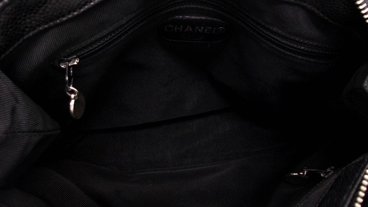 1円美品☆シャネル☆キャビアスキン マトラッセ Wチェーンショルダー 黒 SV金具【CHANEL】