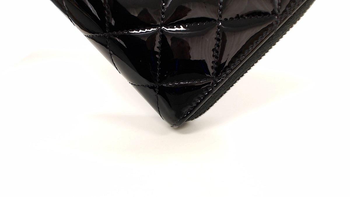 1円美品☆シャネル☆エナメル ブリリアント マトラッセ  ラウンド長財布 黒 SV金具【CHANEL】
