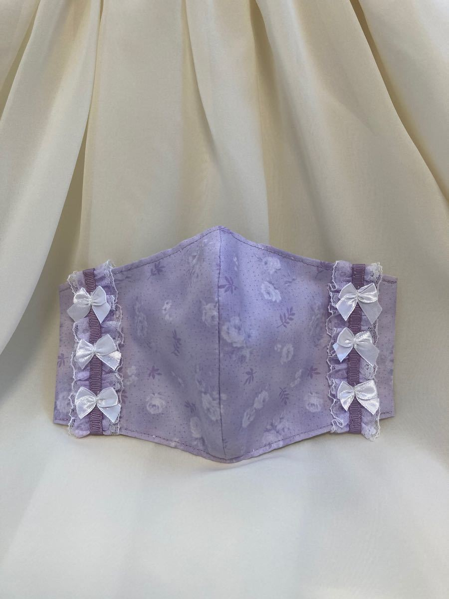立体インナー ルシアン 薔薇柄 小花柄 ラベンダー 薄紫  チュールレース リボン ハンドメイド