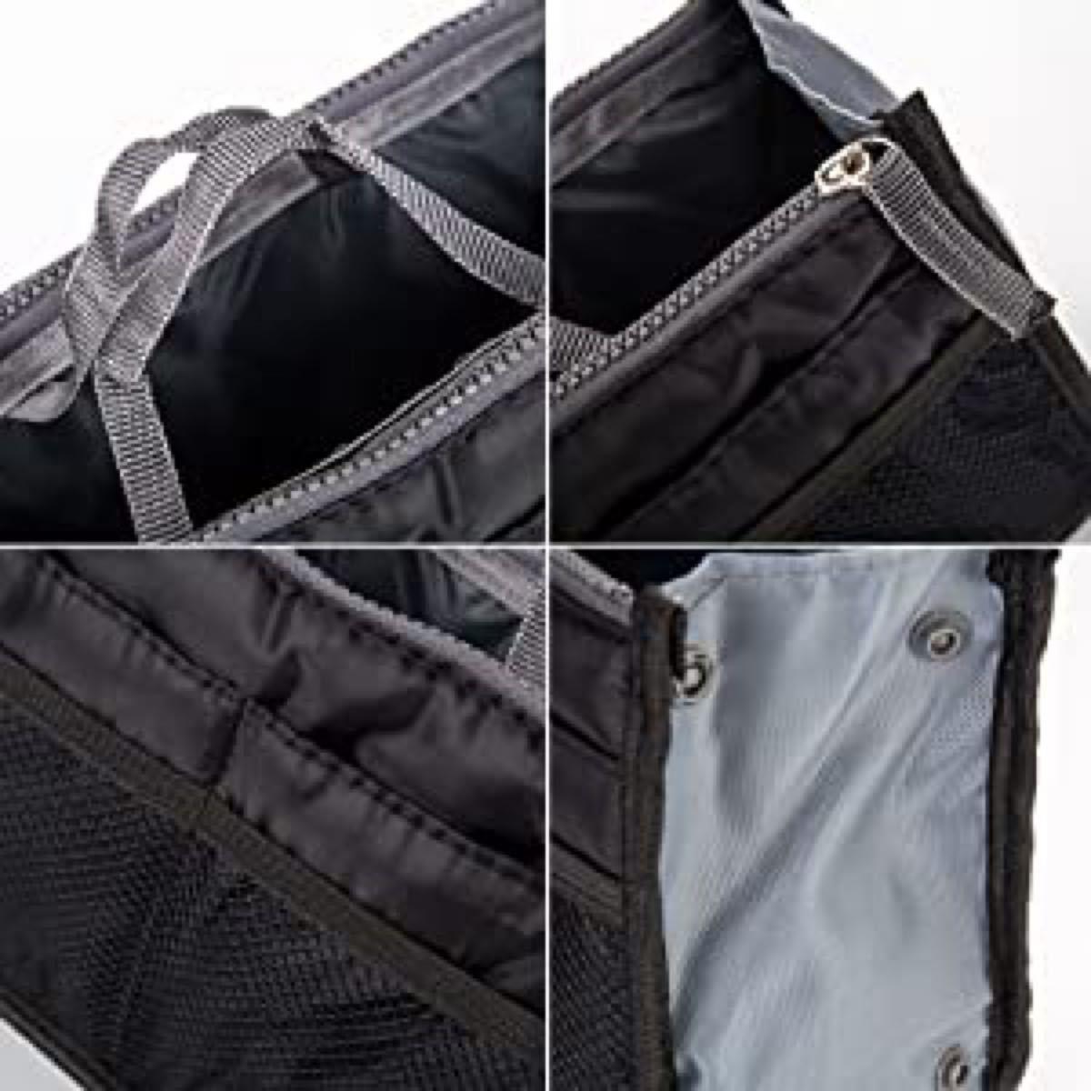 バッグインバッグ ブラック インナーバッグ 収納 化粧ポーチ 多機能 便利グッズ