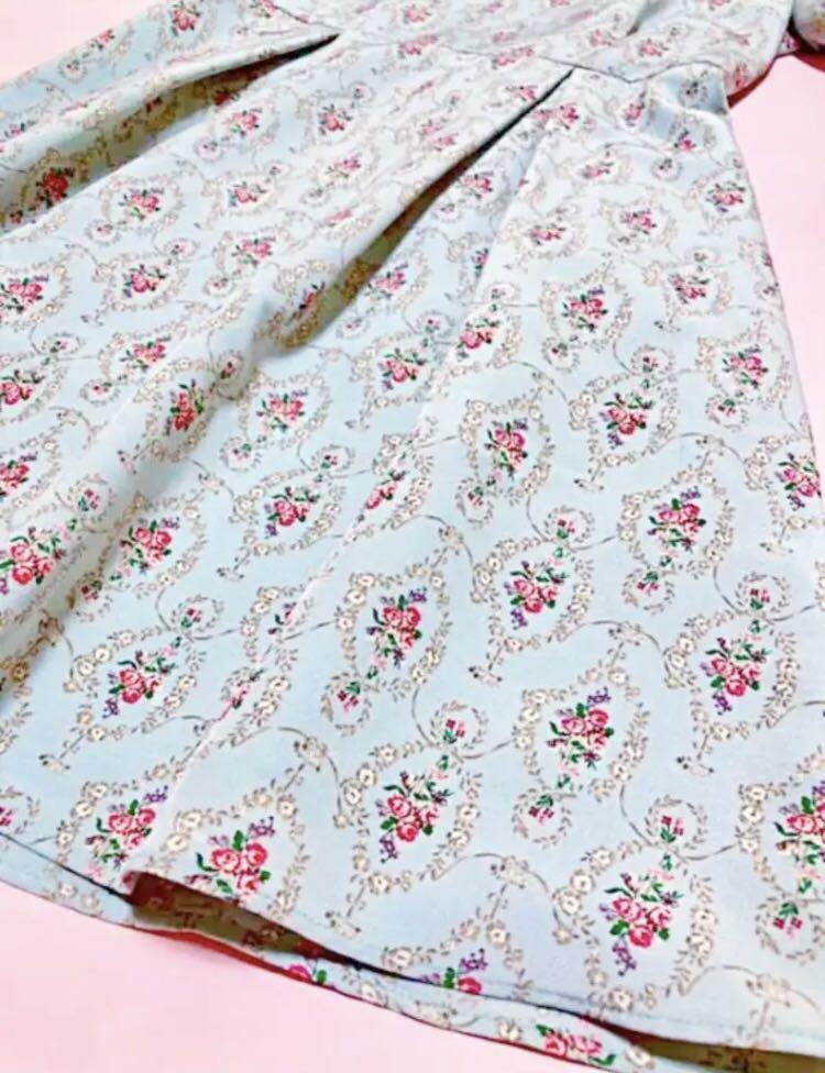 700円スタート ウィルセレクション 花柄 ワンピース 薔薇 半袖 ワンピース ワンピース_画像6