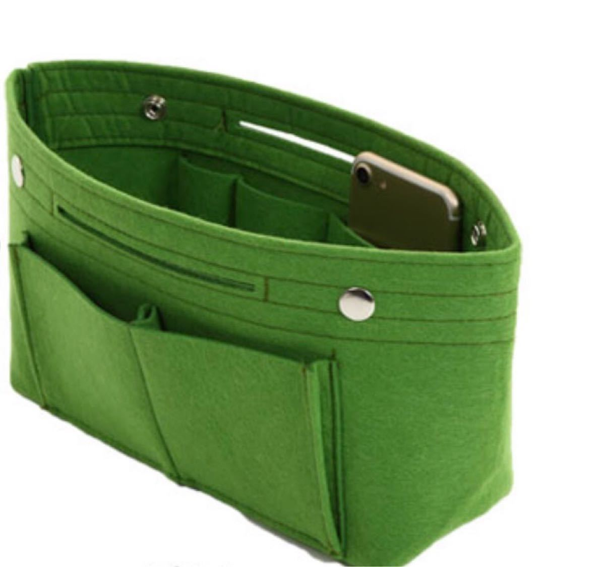 バッグインバッグ 大容量 フェルト インナーバッグ 収納ボックス 軽量 収納バッグ ポーチ マザーズバッグ 緑