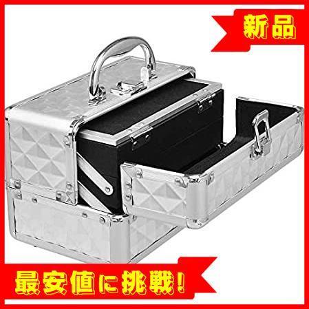 【最大85%OFF】 コスメボックス メイクボックス プロ用 Costway 鏡付き 化粧品収納ボックス シルバー 化粧箱 コス_画像5