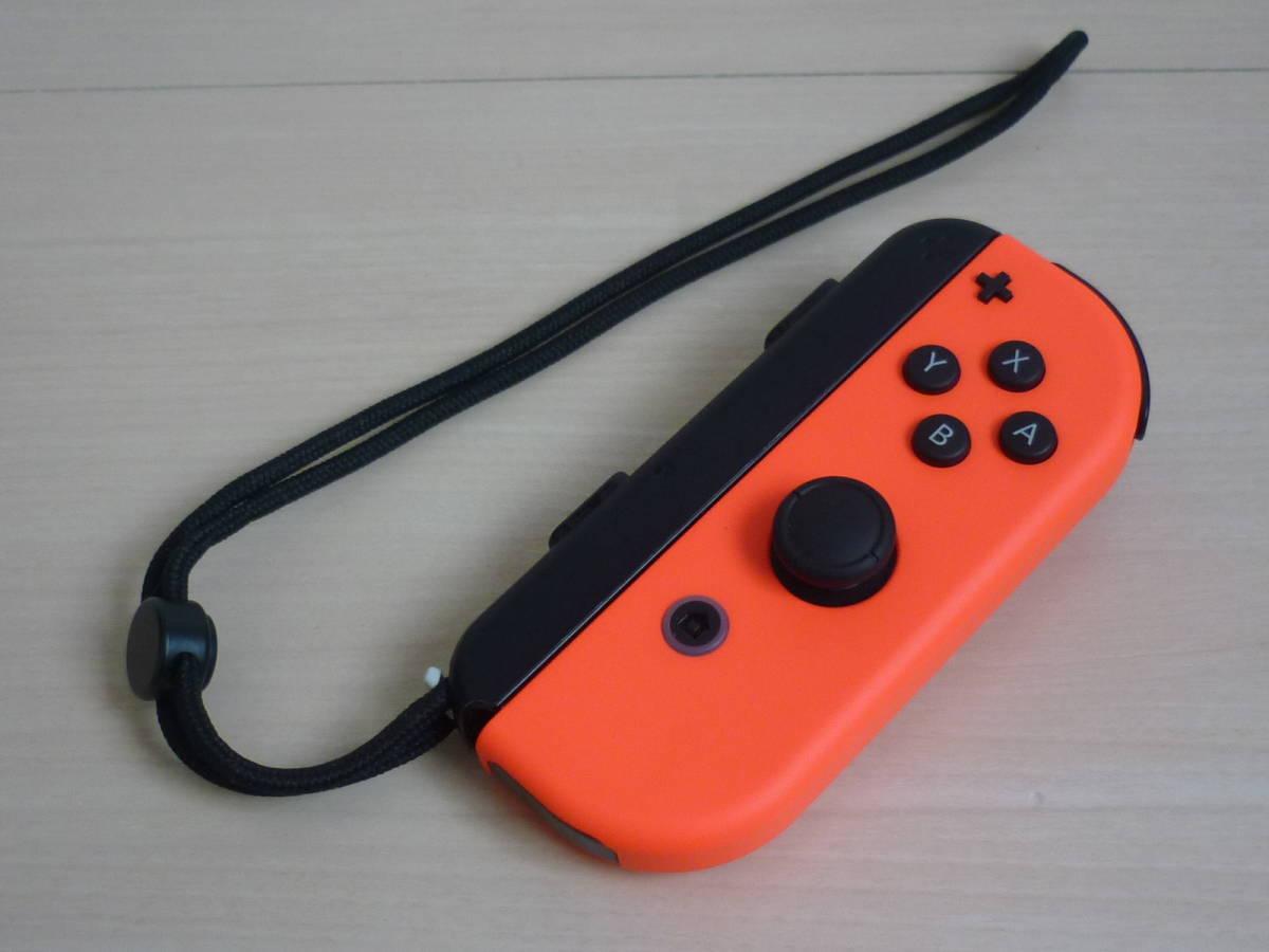◇■ 任天堂純正品 Nintendo Switch Joy-Con(R)ネオンレッド ストラップ付 動作確認済 ジョイコン 中古 即決_画像1