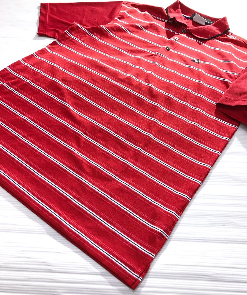 《le coq sportif GOLF ルコックゴルフ》ホワイトライン ロゴ刺繍 ボーダー柄 半袖 ポロシャツ レッド×ホワイト×ブラック L_画像3