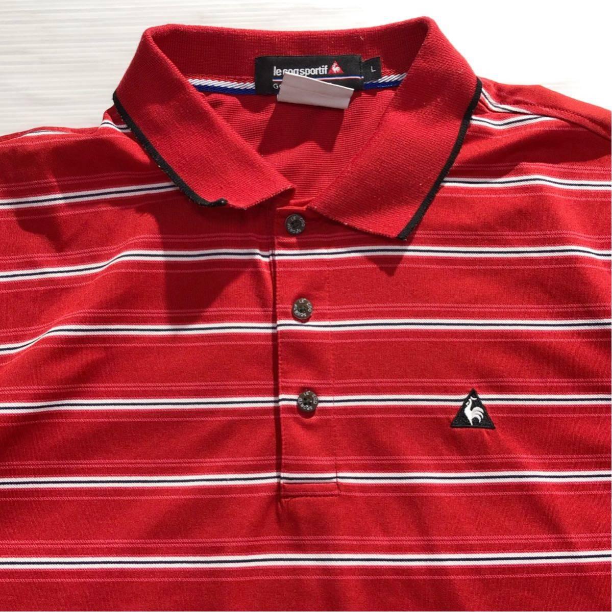 《le coq sportif GOLF ルコックゴルフ》ホワイトライン ロゴ刺繍 ボーダー柄 半袖 ポロシャツ レッド×ホワイト×ブラック L_画像4
