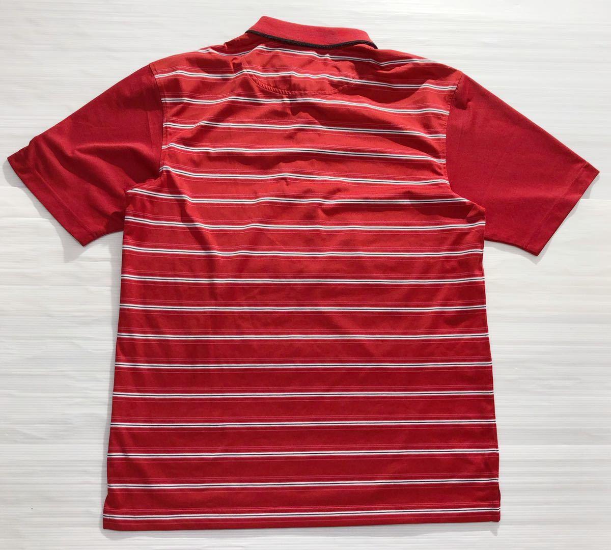 《le coq sportif GOLF ルコックゴルフ》ホワイトライン ロゴ刺繍 ボーダー柄 半袖 ポロシャツ レッド×ホワイト×ブラック L_画像2