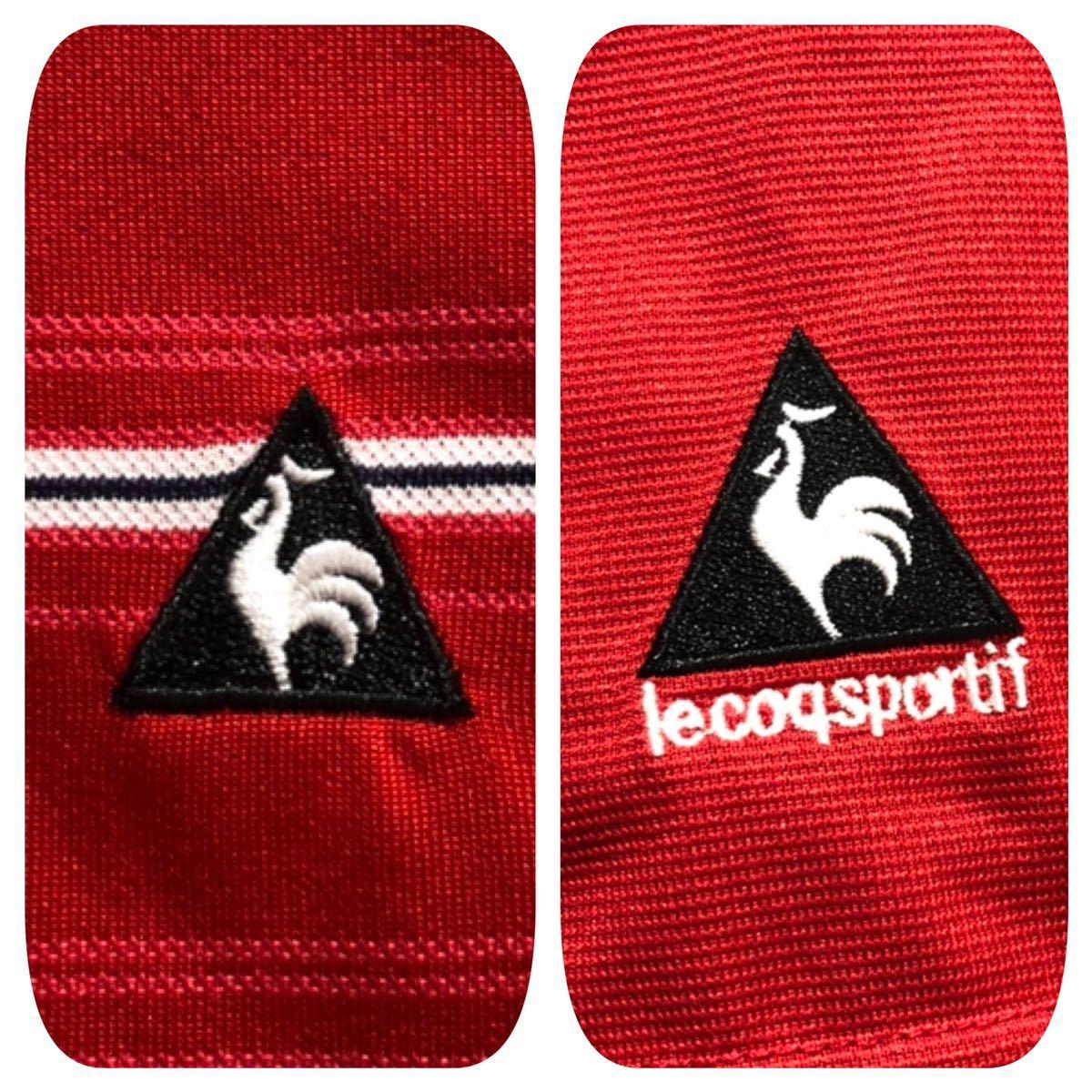 《le coq sportif GOLF ルコックゴルフ》ホワイトライン ロゴ刺繍 ボーダー柄 半袖 ポロシャツ レッド×ホワイト×ブラック L_画像5