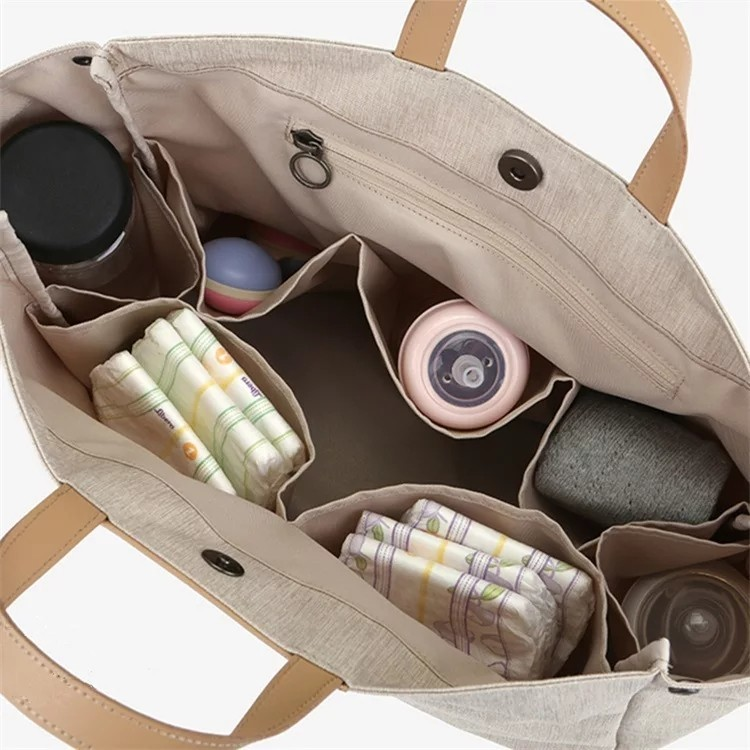 マザーズ トートバッグ キャンバス+レザー 収納力抜群  2wayバッグ  大容量 高品質 ベージュ 可愛い 大人しい