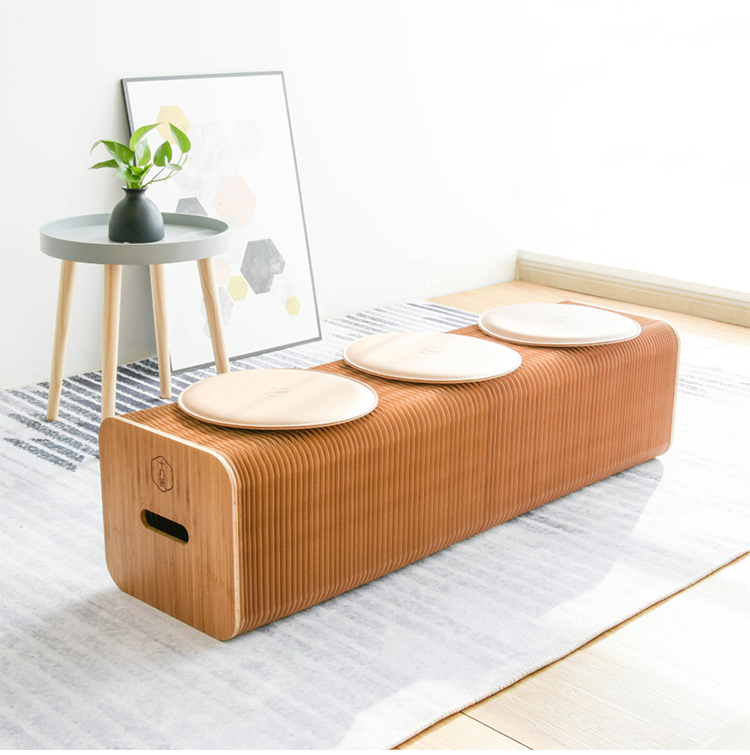 新品 未使用 入手困難 3人用 INS世界で大人気な椅子 竹製 肉厚座面 北欧伸縮イス椅子 折り畳み 綺麗 頑丈 座り心地いい 高さ42cm 全長150cm_画像7