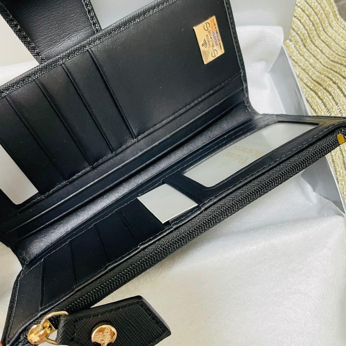 《 新品未使用 》Vivienne Westwood 長財布 二つ折り 黒 ヴィヴィアンウエストウッド レディース財布