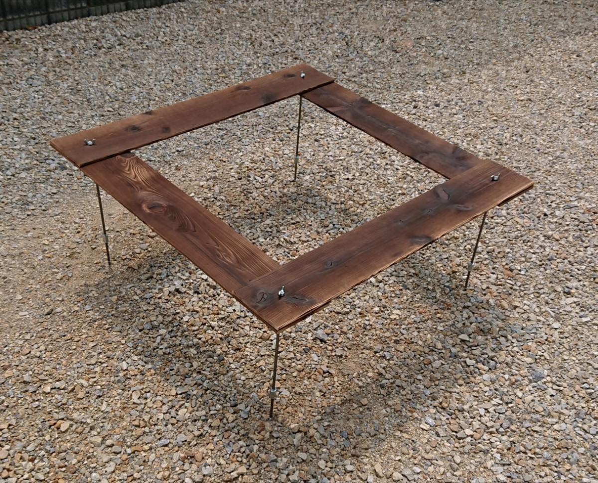 BBQ 囲炉裏テーブル 91×91cm 【組立簡単、軽量収納コンパクト】