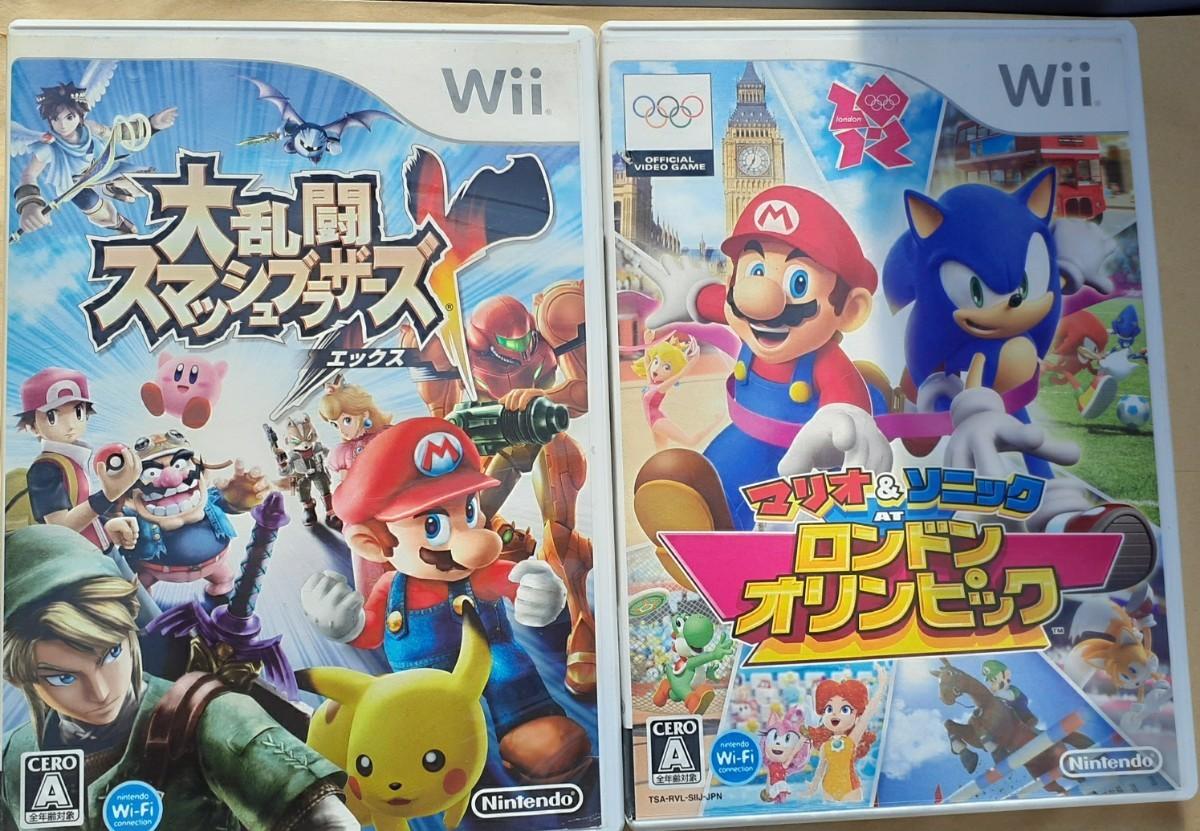 Wii大乱闘スマッシュブラザーズエックス+マリオ&ソニックロンドンオリンピック動作確認済み 送料無料