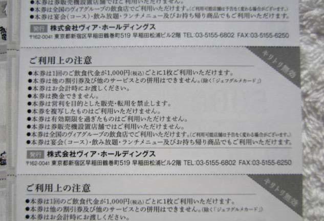 ヴィアホールディングス株主優待券 3シート15枚綴り(7500円分)★2021年6月30日まで _画像2