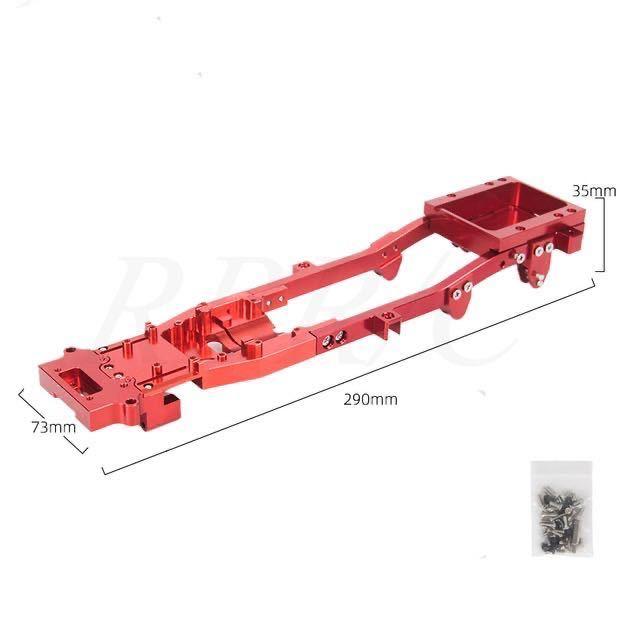 WPL D12軽トラック 高精度本体フレーム 改造金属シャーシ 1台分 アップグレード ラジコン カー 軽トラック スペアパーツ 赤_画像4