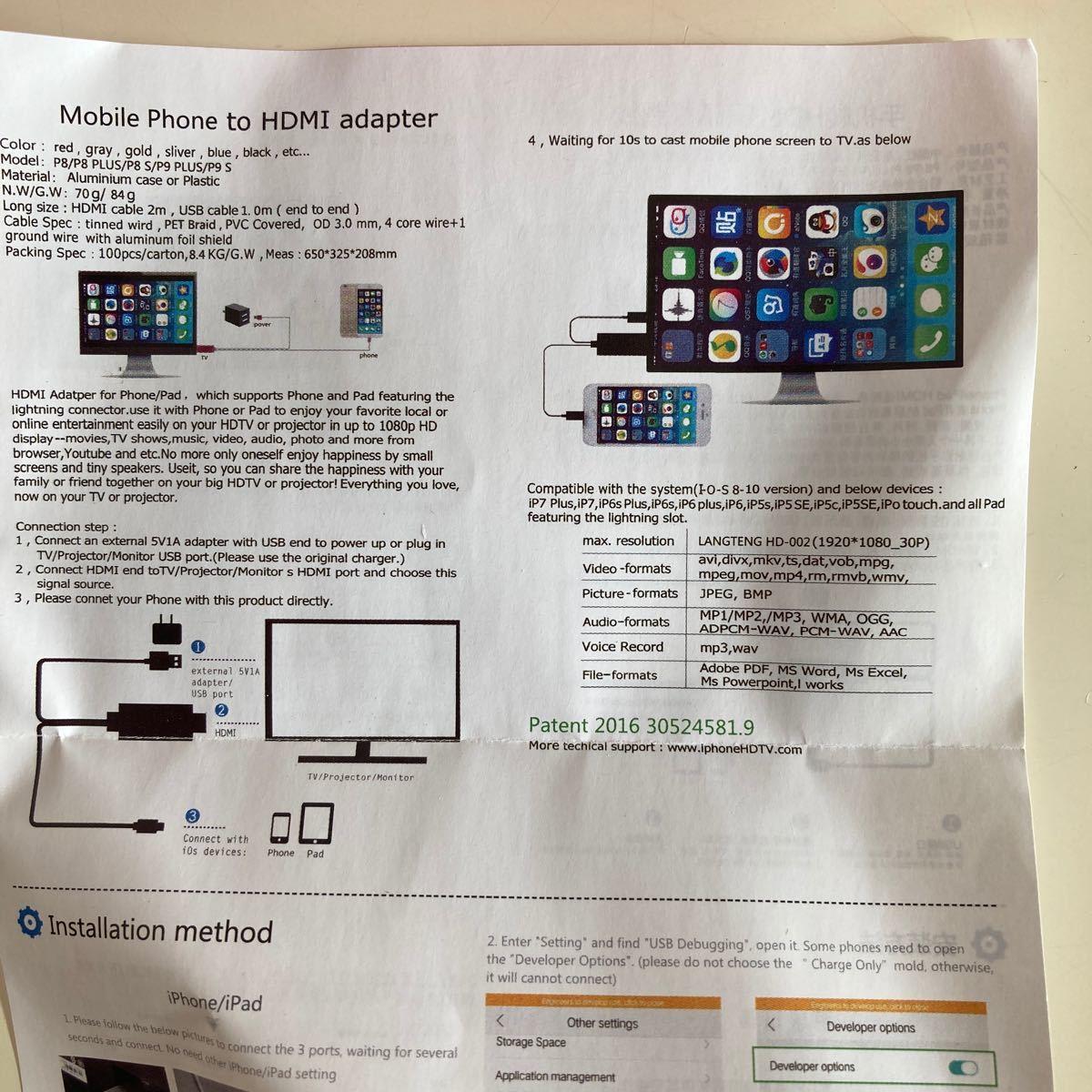 HDMI 変換ケーブル 最新バージョン 2m ディスプレイ