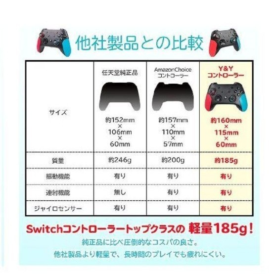 Switch コントローラー 無線 Switch Pro HD振動 小型6軸