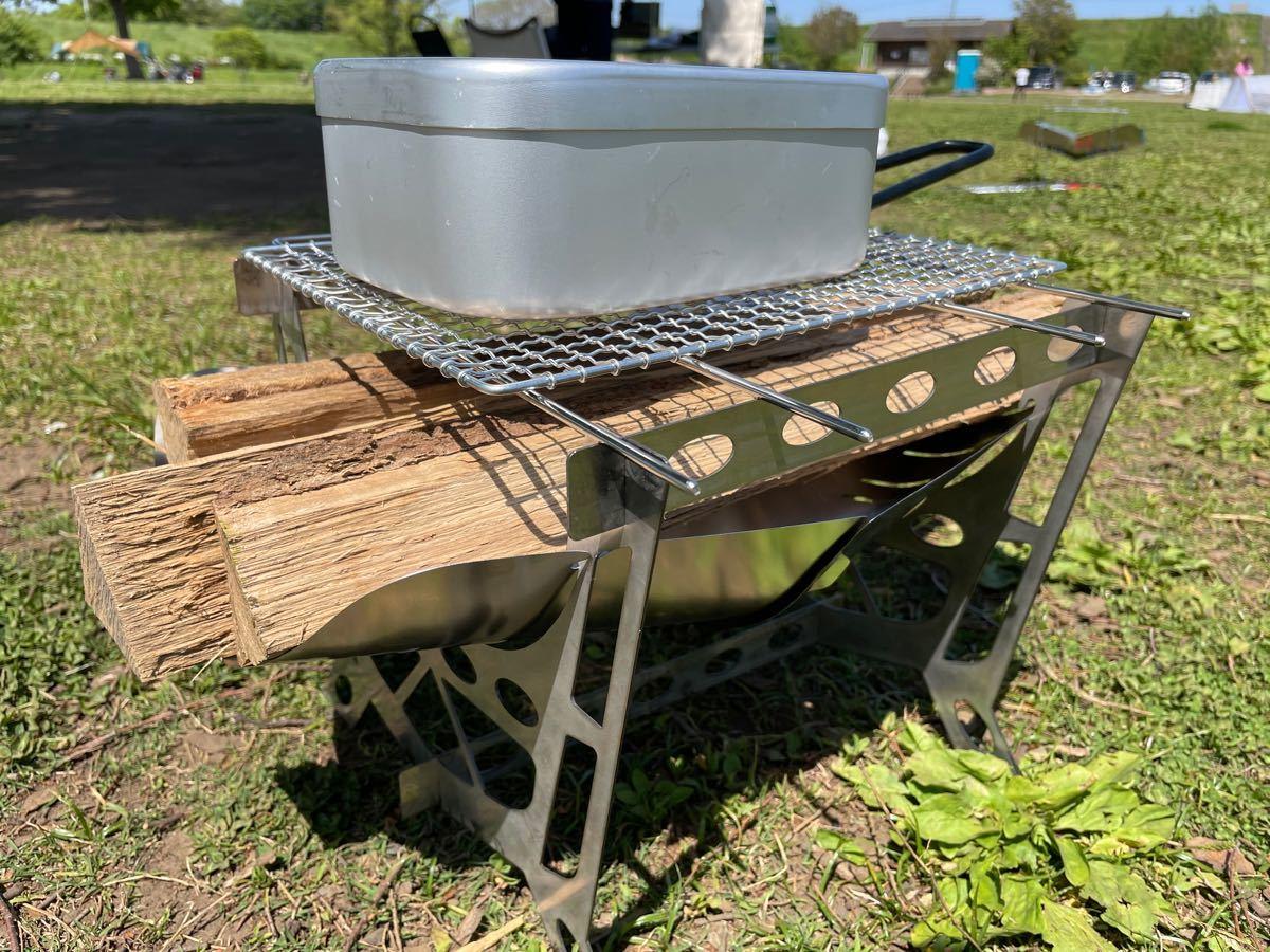 焚き火台 組み立て式 焚火台 バーベキューコンロ コンパクト軽量 焼き網付き!