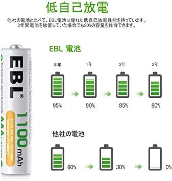 単4形電池 8個パック EBL 単4形充電池 充電式 ニッケル水素充電池 8本入り 高容量1100mAhで長持ち 約1200回使_画像5