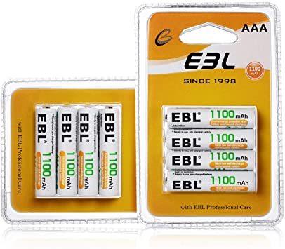 単4形電池 8個パック EBL 単4形充電池 充電式 ニッケル水素充電池 8本入り 高容量1100mAhで長持ち 約1200回使_画像1