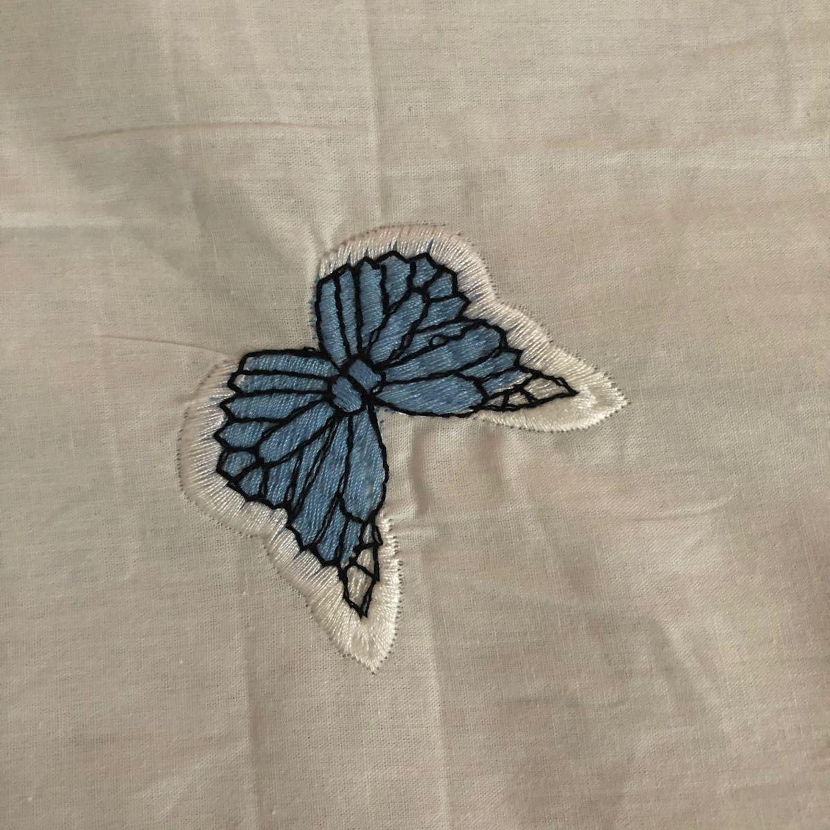 刺繍生地 ハギレ 蝶々
