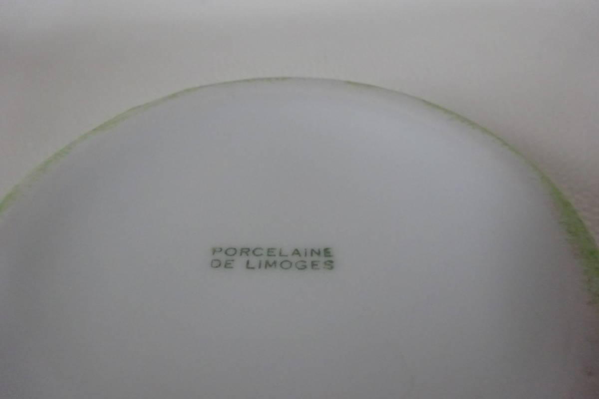 フランス製/PORCELAINE DE LIMOGES【リモージュ/アンティーク蓋つき小物入れ/リーフグリーン×お花柄】リモージュ磁器/リモージュ焼/①_画像8