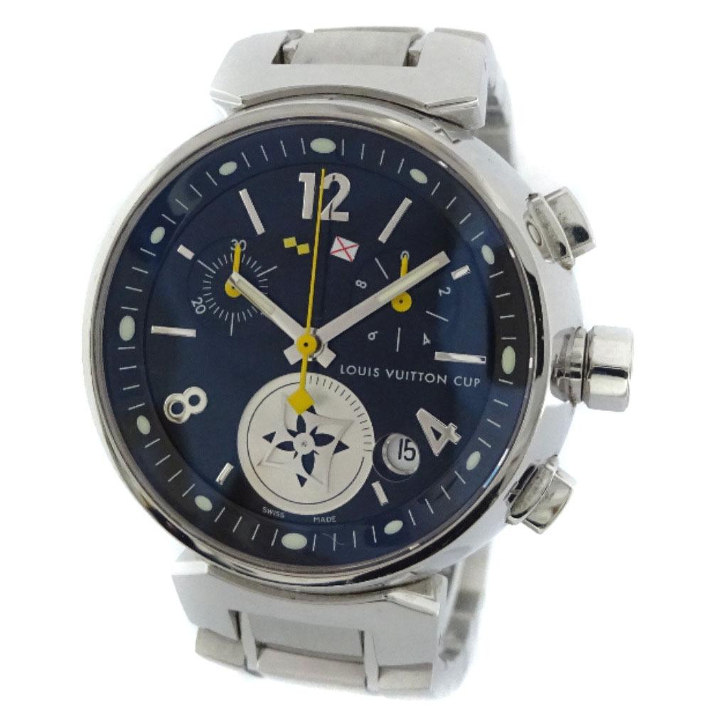 即決 ルイ ヴィトン タンブール ラブリーカップMM ボーイズ 腕時計 レディース クオーツ ブラック文字盤 シルバー Q132G_画像1