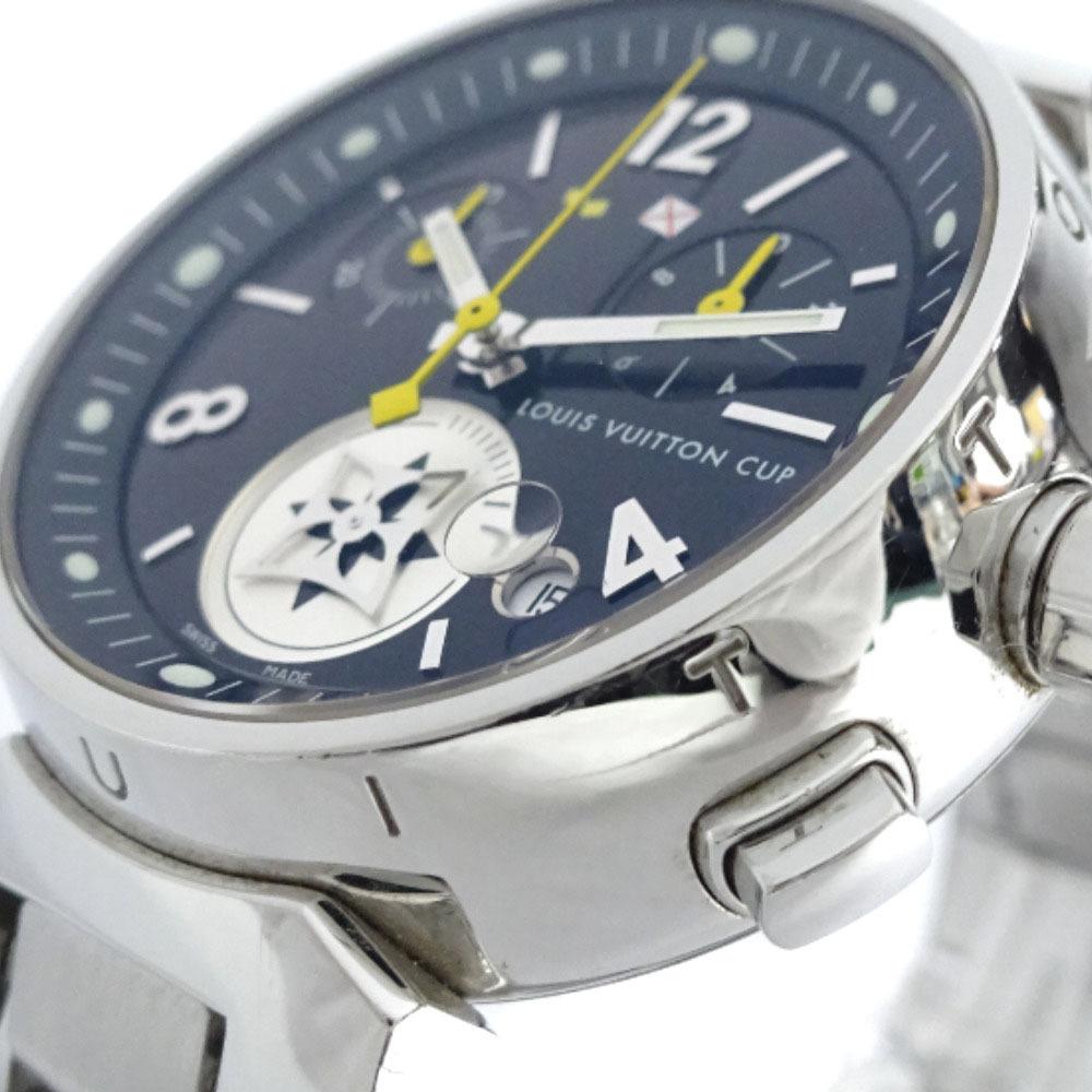 即決 ルイ ヴィトン タンブール ラブリーカップMM ボーイズ 腕時計 レディース クオーツ ブラック文字盤 シルバー Q132G_画像6